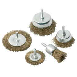 5pc rotary steel wire brush wheel and cup set