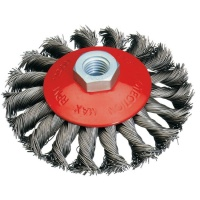 Dronco 100mm Heavy-Duty Tapered Wire Brush Wheel Twisted-Knott